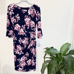 Connected apparel floral ruffle sleeve dress NWT